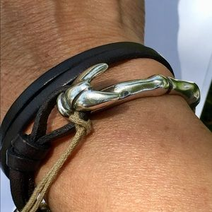 Uno de 50 leather and metal double wrap bracelet